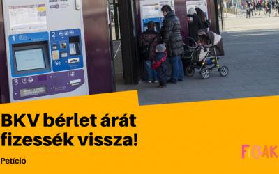 A Fiatal Családosok Klubja petíciót indít a fővárosi családok körében a BKV bérletek árának visszatérítése érdekében
